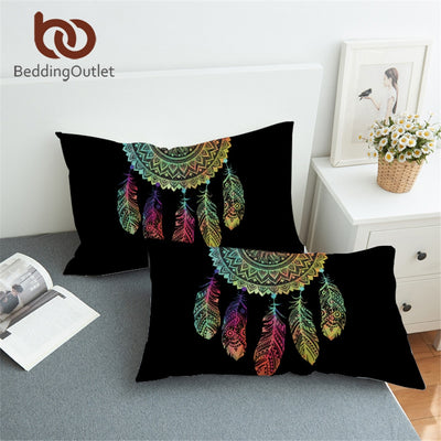 BeddingOutlet Dreamcatcher Pillowcase Colorful Feathers Pillow Case Bohemian Mandala Bedding Black Pillow Cover 50x75cm 50x90cm