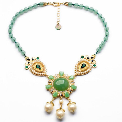 2014 Brand New Hand-made Green Bead Flower Pendant Statement Necklace Design Jewelry