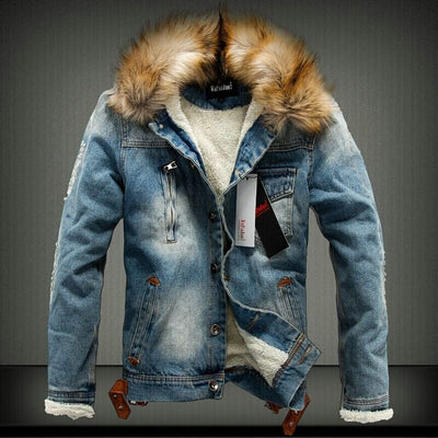 2018 denim winter wadded jacket men slim thickening cotton jacket fur collar outerwear male cotton-padded jacket winter coat