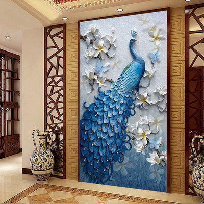 FULL diy diamond Painting Cross Stitch 5d Diamond embroidery Blue peacock animal picture Mosaic pattern arts and crafts gift