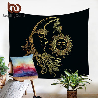 BeddingOutlet Gold Moon Accompanys Sun Tapestry Bohemian Wall Hanging Retro Fabric Home Decor Bed Sheet Luxury Beach Mat