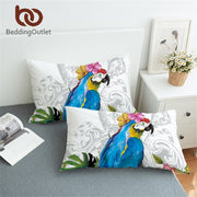 BeddingOutlet Blue Macaw Pillowcase Cover Tropical Bird Floral Pillow Case Rectangle for Twin Bed 1pc Parrot Pillow Cover