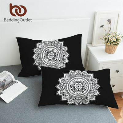 BeddingOutlet Bohemian Pillowcase Black and White Lotus Pillow Cover Mandala Floral Pinted Pillow Case 1Pcs 50x75cm 50x90cm