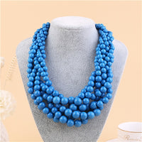 2018 New Fashoin Bohemia beads necklace jewelry Color Resin Bib Round Bead Necklace Hand-made Necklace For Women wholesale