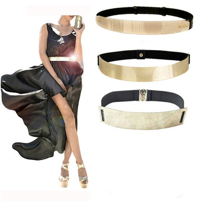 Fashion Women's 4CM Metal Elastic Elastic Belt Waist Band Briefness long type Metal Paillette Width Belt Wholesale