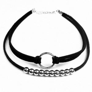 2 Unids / Set Black Leather Strap Choker Necklaces For Women Charming Ladies Gothic Hand Made Exquisite Necklaces Selling  x171