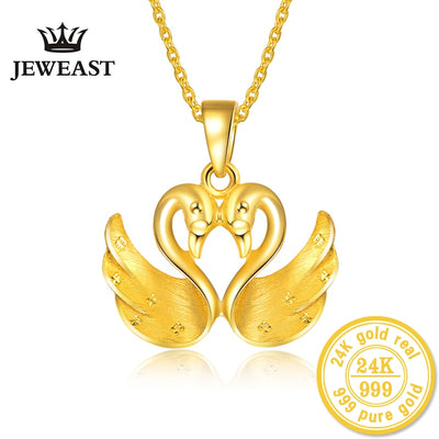 24K Pure gold fine Jewelry pendants  female models  two swans  excluding necklaces 2018 new hot sale trendy party good nice 999