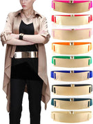 Women Adjustable Metal Gold Waistband Belt Gold Tone Elastic Mirror Metal Stretch Waist for Women