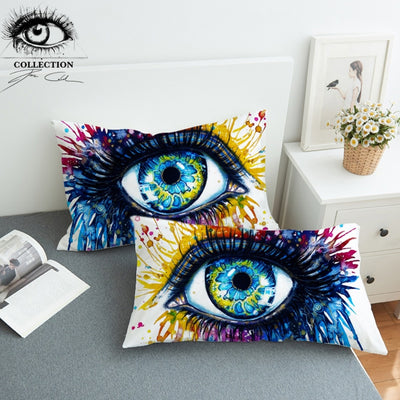 Rainbow Fire by Pixie Cold Art Pillowcase Colorful Pillow Case Bedding Charming Eye Home Textiles Watercolor Pillow Cover 2pcs