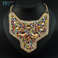 UKEN Fashion Geometry National Glass Resin Beaded Women Dress Accessories Hand Made Statement Chokers Collar Necklace N3513