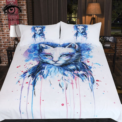 Space by Pixie Cold Art Bedding Set Watercolor Duvet Cover With Pillowcases Animal Cat Eye Bed Set 3-Piece Blue Bedclothes