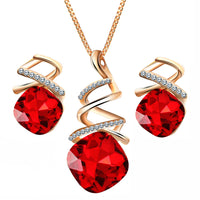 Women Pendant Necklace Earrings Set Austrian Water Drop Zircon Crystal Spiral Necklace Earrings Jewelry Suit Gift for Birthday Wedding Party
