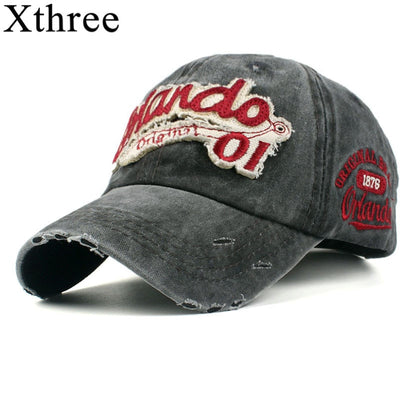Xthree washed cotton retro baseball cap for men fitted cap snapback hat for women gorras casual casquette embroidery letter cap