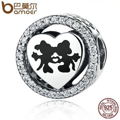 BAMOER 925 Sterling Silver Sparkling Sweet Cartoon Love Story with Clear CZ Charms Beads Fit Bracelet Jewelry PSC058