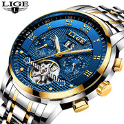 Relogio Masculino LIGE Men Watches Top Brand Luxury Automatic Mechanical Watch Men Full Steel Business Waterproof Sport Watches