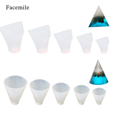 Facemile 1PCS Crystal Cone/Pyramid Epoxy Mold Chocolate Transparent Silicone Mold DIY Cake Decor Biscuit Fondant Bakeware Mold