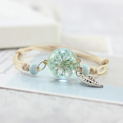 Handmade Ceramic Bead Crystal Glass Dried Flower Lace Preserved Fresh Flower Ball Metal Weave Bracelet Women Terrarium Jewelry