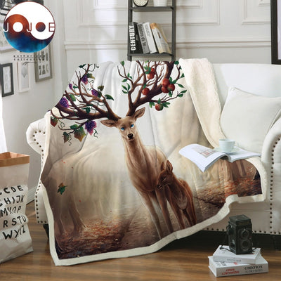Seasons Change by JoJoesArt Throw Blanket Floral Deer Sherpa Fleece Blanket for Beds Sofa Elk Maternal Love Bedding 130x150