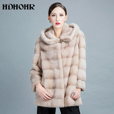 HDHOHR 2018 New Real Fur Coats For Women Natural Mink Fur Coats Fashion Warm Winter Fur Jackets Outwear Fur Parka Of Female