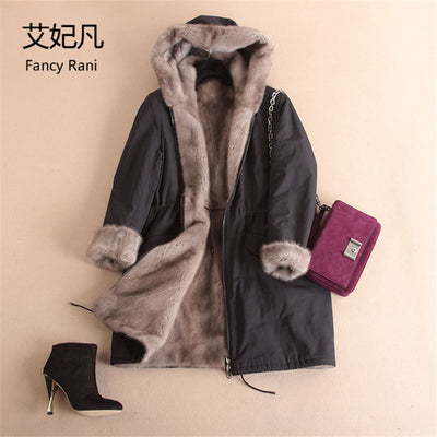 Women Real Mink Fur Winter Parkas Hooded Natural Fur Long Jacket Warm Genuine Full Pelt Mink Fur Lining Coats Both Sides Wear