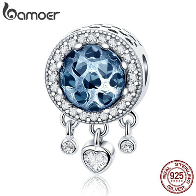 BAMOER 100% 925 Sterling Silver Dangle Heart Radiant CZ Crystal Beads fit Women Charm Bracelets Necklaces DIY Jewelry SCC724