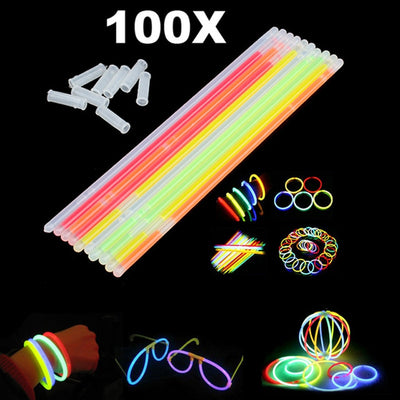 100 Pcs Christmas Party Neon Glowstick Light Stick Kids Funny Glow Stick Toys Glow in the Dark Fluorescent Bracelet Toy For Kids