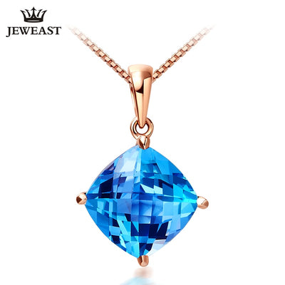 18K Pure Gold Natural Topaz Charm 2017 New solid 750 Gold Jewelry Crystal Pendant Woman Girl Necklace Trendy Classic Pure Mosaic
