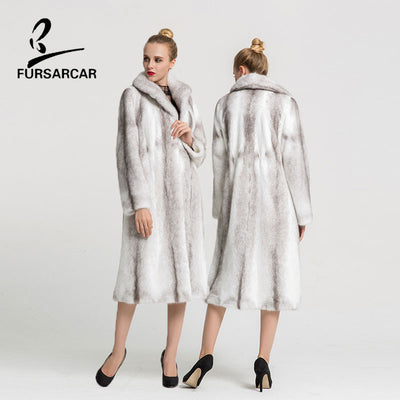 FURSARCAR 2018 New Real Mink Fur Coat Women Natural Mink Fur 107cm Long Coats Winter Overcoat For Female With Fur Collar