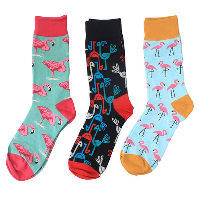 Combed Cotton Colorful Van Gogh Retro Argyle Flamingos Men Socks cool casual Dress Funny party dress crew Socks 1pair=2pcs  ms02