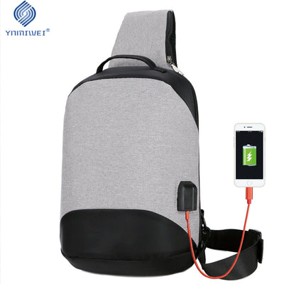 Compact Single Shoulder Bags USB Charging 10 inch Waterproof Crossbody Bags Anti Theft Chest Bag Unisex Short Trip Messenger Bag