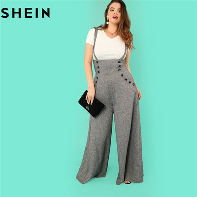 b665689060ea2 SHEIN Grey High Waist Wide Leg Straps Plus Size Office Lady Long Jumpsuits  2018 New Flare