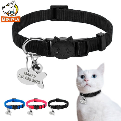 Nylon Quick Release Cat Collar Tag Set Personalized Dog Cat ID Collar Customized Tags Accessories Engraved For Small Cat Pet