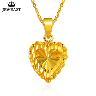 24K Pure Gold Pendant Real AU 999 Solid Gold Charm Nice Shiny Heart Upscale Trendy Classic Party Fine Jewelry Hot Sell New 2018