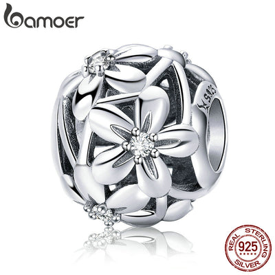 BAMOER 100% 925 Sterling Silver Flourishing Flowers Charm Beads fit Women Charm Bracelets & Necklaces Jewelry Making SCC729