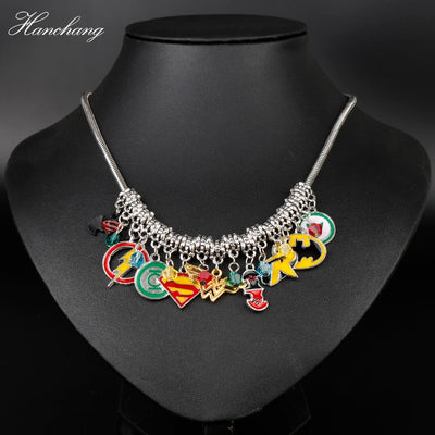 HANCHANG New Design Marvel Avengers DC Superhero Wonder Women Batman Pendant Hulk Metal Choker Necklace Women Christmas Gift