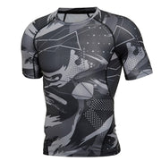 Mens T Shirts Fahion 2018 Summer Oversized Brand Men T Shirt Bodybuilding Camouflage Black Compression Shirt Fitness Clothing