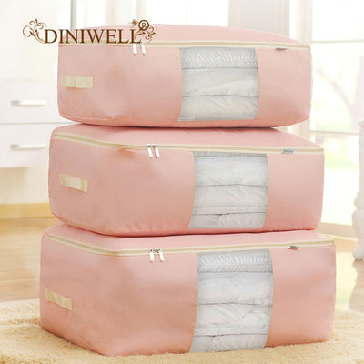 DINIWELL New Waterproof Oxford Duvet Bedding Clothing Pillows Storage bag Pouch Zip Handles Quilt Closet Divider Organizer