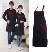 Black Red Unisex Chef Cooking Kitchen Catering Halterneck Apron Bib with 2 Pocket  One Size in Medium Fashion Kitchen Accessorie