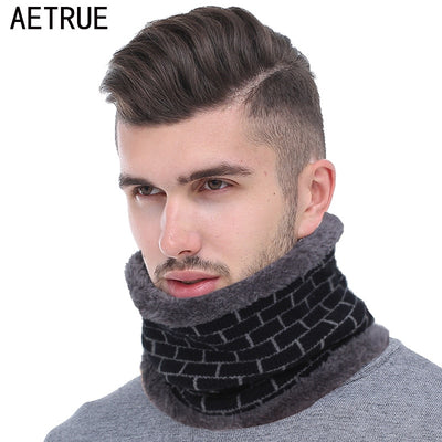 AETRUE 2018 Fashion Men Winter Scarf Ring Knitted Scarves For Men Women Thickened Wool Neck Snood Warp Collar Warm Soft Scarves