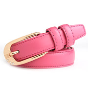 Women Ladies Female Plain Color PU Leather Belt Casual Metal Alloy Buckle Belt 2986