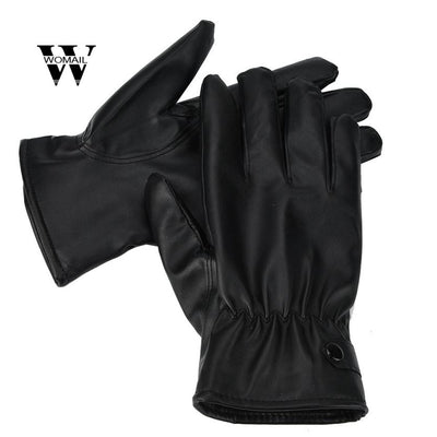 Men Fashion Warm Cashmere PU Leather Male Winter Gloves Driving Waterproof Black Glove Amazing Solid Gloves