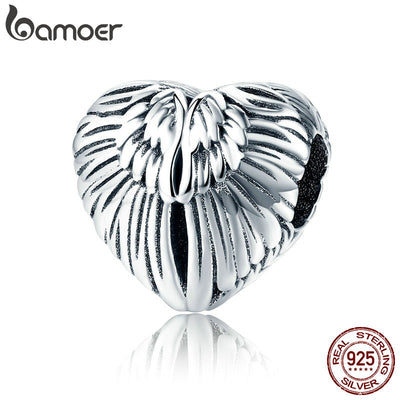 BAMOER 100% 925 Sterling Silver Angel Wings in Heart Shape Charm Beads Fit Women Bracelets Bangles DIY Jewelry Making SCC780