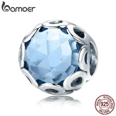 BAMOER New Arrival 925 Sterling Silver Infinity Blue Crystal CZ Round Beads fit Charm Bracelets Necklaces Jewelry Making SCC755
