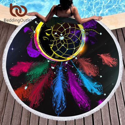 BeddingOutlet Dreamcatcher Round Beach Towel Large for Woman Microfiber Colorful Picnic Mat Night Moon Bohemian Tapestry Blanket