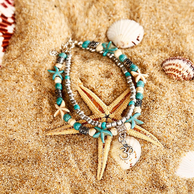 NS35 Bohemian Multiple Layers Starfish Turtle Beads Anklets For Women Vintage Boho Shell Chain Anklet Bracelet Beach Jewelry