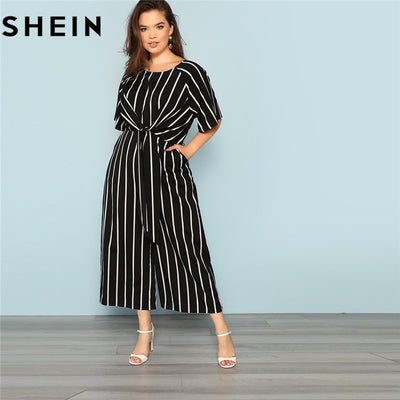ab217e4a59 SHEIN Black And White Striped Raglan Sleeve Plus Size Belted Women Wide Leg  Jumpsuits Office Lady