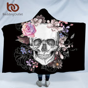 BeddingOutlet Sugar Skull Flower Hooded Blanket for Adults Floral Gothic Sherpa Fleece Wearable Throw Blanket Microfiber Black