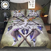 Native American Skull by Sunima-MysteryArt Bedding Set Green Black Duvet Cover Tribal Skull Axe Bed Set Gothic Home Textiles