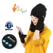Unisex Women Men Warm Soft Smart Headset Bluetooth Wireless Beanies Cap Hat Gloves Headphone Speaker HT