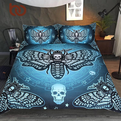BeddingOutlet Death Moth Bedding Set Gothic Skull Duvet Cover Set Butterfly Bedclothes 3-Piece Blue Stars Double Home Textiles